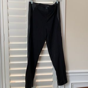 Black dress pant with leather accents